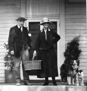 (Image of Geri and Corinne Melchers wither there two dogs at Belmont, published in the University of Mary Washington Buildings Blog)