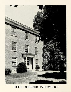 "A clipping from a yearbook, in black and white, it shows the profile of a building, with ""Hugh Mercer Infirmary"" printed at the bottom."